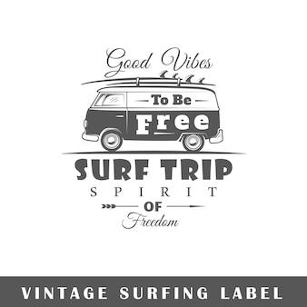 Surfen label geïsoleerd op een witte achtergrond. element. sjabloon voor logo, bewegwijzering, huisstijl.