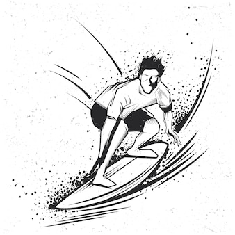 Surfen labelontwerp