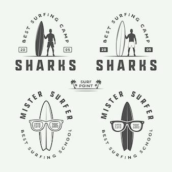 Surfen logo's, emblemen, badges