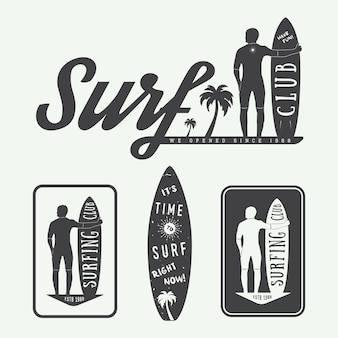 Surfen logo's, labels, badges