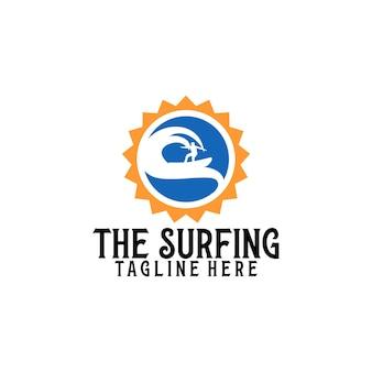 Surfen logo sjabloon vector. surfen logo concept vector
