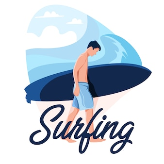 Surfen man Premium Vector