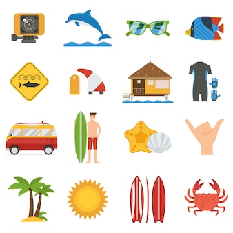 Surfen pictogramserie. zomer surfboarding elementen en accessoires collectie.