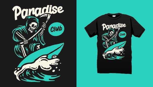 Surfen skelet t-shirt design