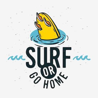 Surfen surf sign label voor promotie-advertenties t-shirt of sticker poster flyer design image.