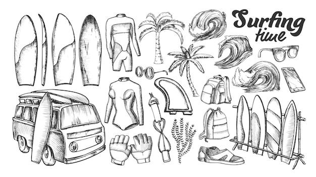 Surfen tijd collectie elementen inktset