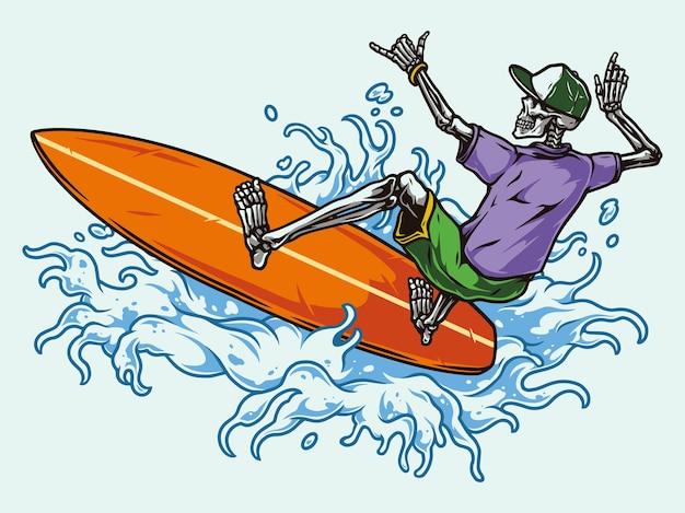 Surfen vintage kleurrijk met skelet surfer in baseball cap shirt en korte broek rijden golf geïsoleerd