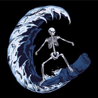 Surfen x machine illustratie vector ontwerp