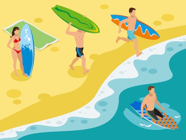 Surfen, zandstrand kustlandschap en menselijke karakters van surfers met hun boards