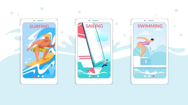Surfen, zeilen, zwemmen mobiele app-pagina onboard screen set voor website