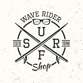 Surfen zwarte vintage ronde embleem, badge, label of logo vectorillustratie op witte gestructureerde achtergrond