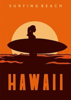 Surfend strand hawaï