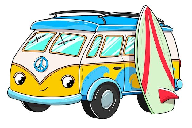 Surfer busje met blij gezicht samen met een surfplank
