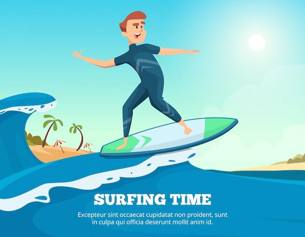 Surfer op de surfplank
