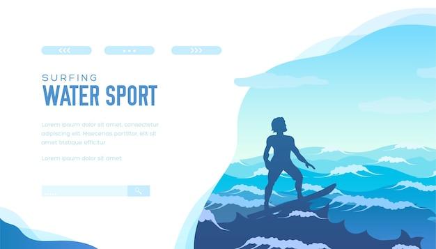 Surfer op de top van een golf in de uitgestrekte oceaan