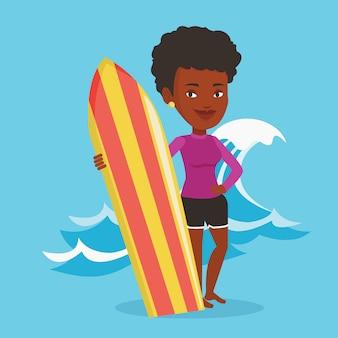 Surfer surfplank vector illustratie te houden.