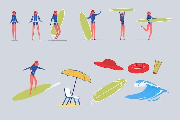 Surfer vrouw tekens met strand items