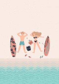 Surfers op de strandillustratie