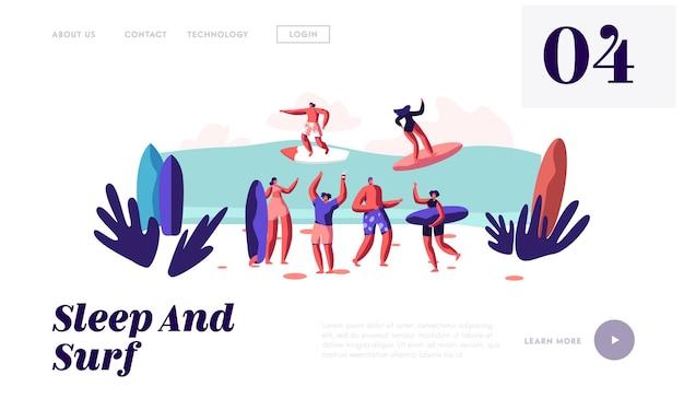 Surfers rijden op zeegolf aan boord en ontspannen op het zandstrand, zomervakantie, sjabloon voor de bestemmingspagina van de website