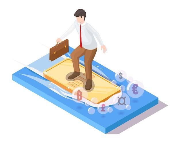 Surferzakenman met koffer die goudstaaf berijden op oceaangolf, isometrische vectorillustratie. investeren in goud.