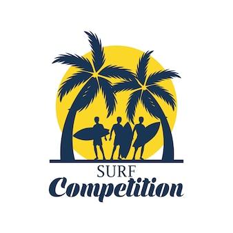 Surffestival banner voor surfen competitie. vector illustratie