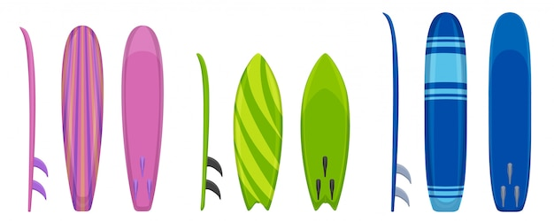 Surfplank iconen set, cartoon stijl