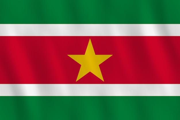 Surinaamse vlag met zwaaieffect, officiële verhouding.