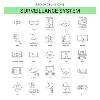 Surveillance line icon set - 25 gestippelde overzichtsstijl