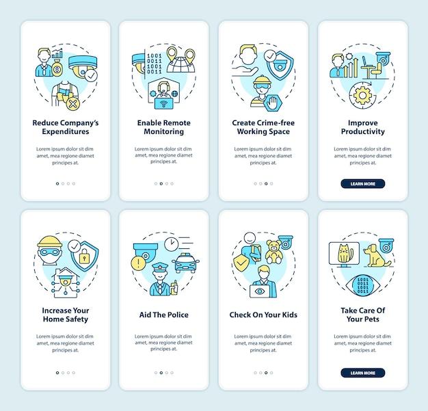 Surveillancesystemen onboarding paginaschermset voor mobiele apps