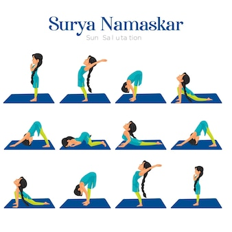 Surya namaskar zonnegroet banner ontwerpsjabloon