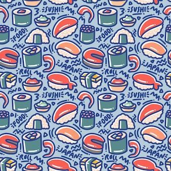 Sushi doodle naadloze patroon