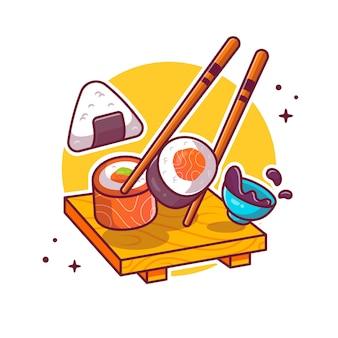 Sushi en onigiri met chopstick cartoon pictogram illustratie. japans eten pictogram concept geïsoleerd. platte cartoon stijl