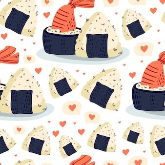 Sushi en onigiri naadloos patroon.