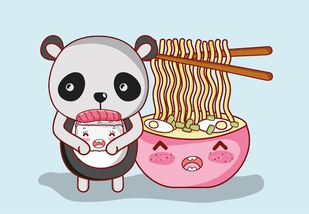 Sushi en panda kawaii