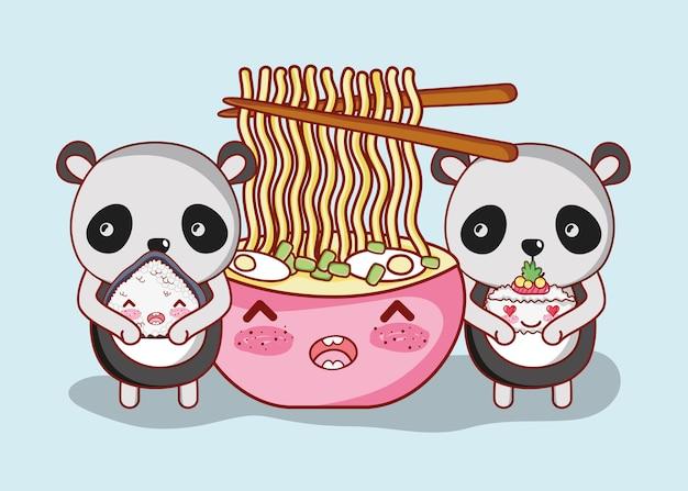 Sushi en panda's kawaii