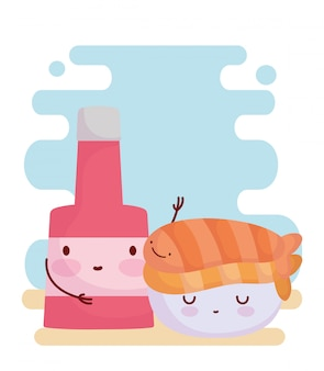 Sushi en sausfles menu karakter cartoon eten schattig