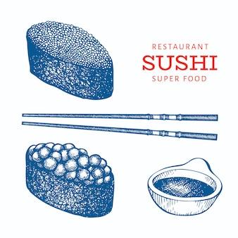 Sushi gunkan hand getrokken sjabloon