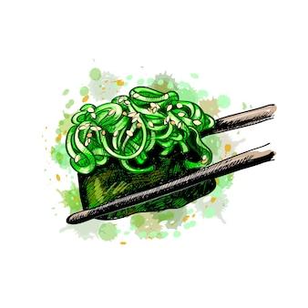 Sushi gunkan uit een scheutje aquarel, hand getrokken schets. illustratie van verven