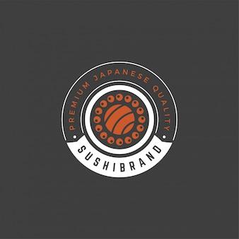 Sushi logo embleem sjabloon zalm roll silhouet met retro typografie vectorillustratie