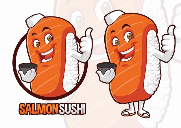 Sushi-mascotteontwerp voor japans voedselrestaurant