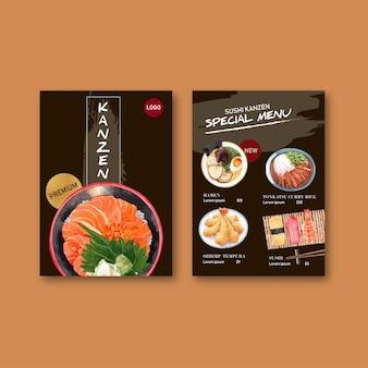 Sushi-menucollectie voor restaurant. sjabloon met voedsel aquarel illustraties.