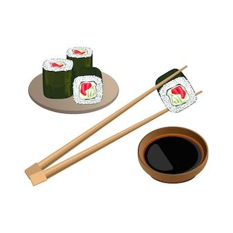 Sushi met zalm in eetstokjes boven kom met sojasaus die op witte achtergrond wordt geïsoleerd. traditioneel japans eten. realistisch van gekookte azijnrijst gecombineerd met zeevruchten en groenten