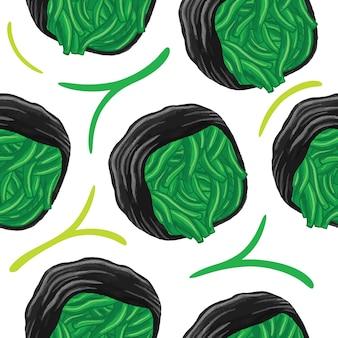Sushi naadloos patroon in platte ontwerpstijl