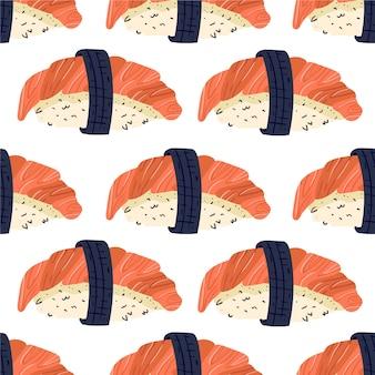 Sushi naadloos patroon japans eten Premium Vector