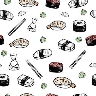 Sushi naadloze patroon achtergrond