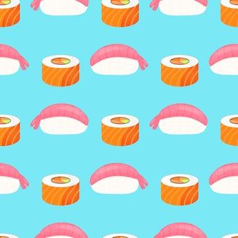 Sushi nigiri met garnalen, broodje met zalm. traditioneel japans eten. naadloze patroon.