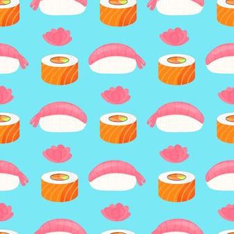 Sushi nigiri met garnalen, rol met zalm en gember. traditioneel japans eten. naadloze patroon.