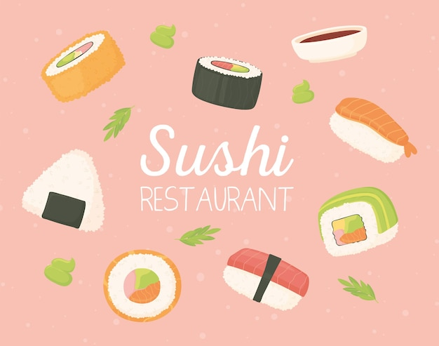 Sushi restaurant japans eten zeevruchten rolt traditionele illustratie