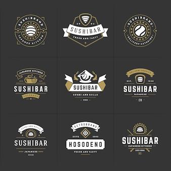 Sushi restaurant logo's en badges instellen