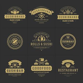 Sushi restaurant logo's en badges japans eten instellen